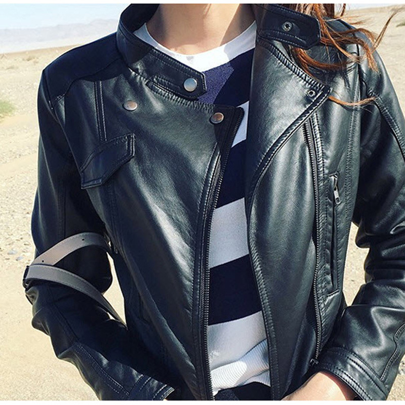 Locomotive pu   leather   ms han edition cultivate one's morality short coat collar show thin   leather   jacket coat