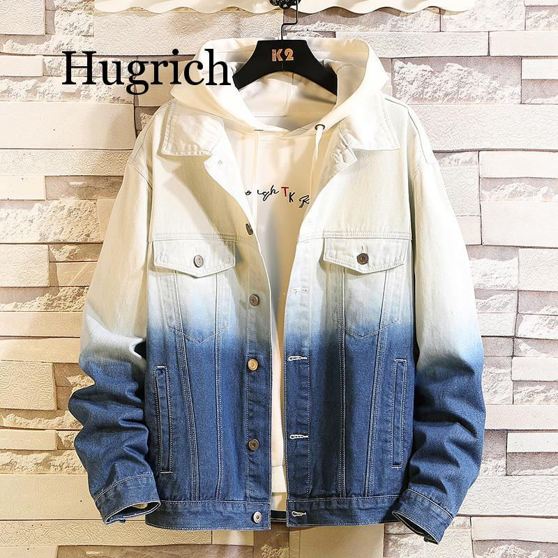 Men New Personality blue red Black white gradient Cotton Denim Jacket Streetwear Slim Man motorcycle Casual Jeans Coat Outerwear