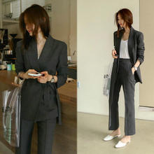 Women's suit 2019 autumn new slim small suit jacket wide leg pants two-piece loose loose women's clothing