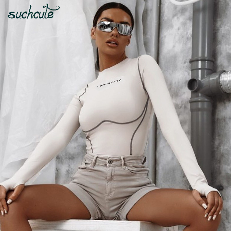 SUCHCUTE White Cotton Body Overalls For Women Casual Basic Bodysuit Autumn 2019 Skinny Female Playsuit Macacao Feminino Rompers