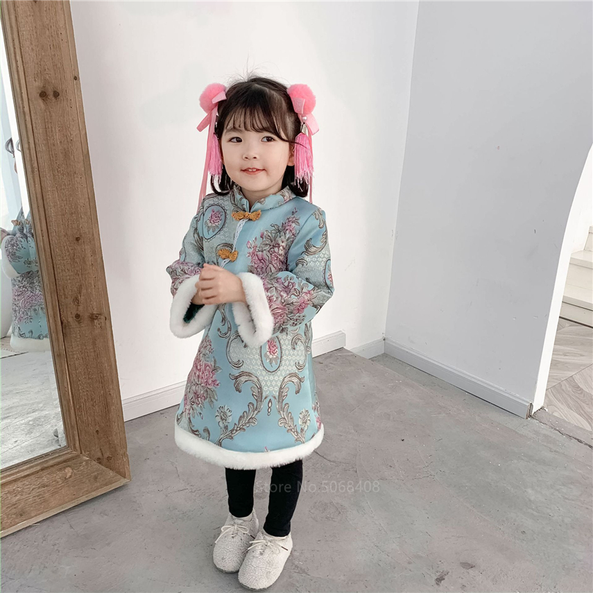 Ethnic Chinese Traditional Clothing Cheongsam Kids Baby Girls New Year Retro Qipao Tang Suit Princess Floral Pattern Gauze Dress
