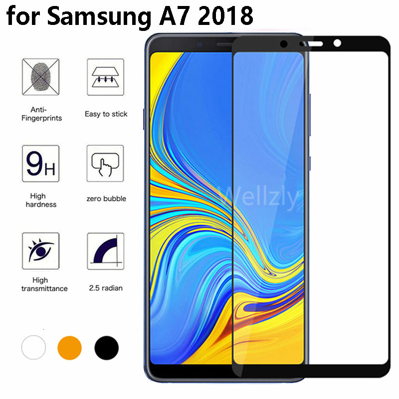 Full Cover A7 Glass for <font><b>Samsung</b></font> Galaxy A7 A750 SM-A750F <font><b>750</b></font> Tempered Glass On the for <font><b>Samsung</b></font> Galaxy A7 <font><b>2018</b></font> A7 black Cover glas image