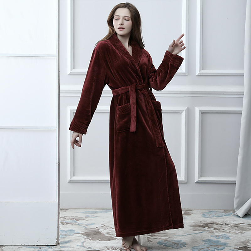 Image 5 - Lovers Winter Extra Long Plus Size Flannel Coral Fleece Warm Bathrobe Women Dobby Kimono Bath Robe Bridesmaid Sexy Dressing Gown-in Robes from Underwear & Sleepwears
