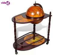 VidaXL Wood Freestanding Globe Bar Wine Stand With Plenty Of Room For Wine, Spirits, Beverage And Stemware For Home Or Bar