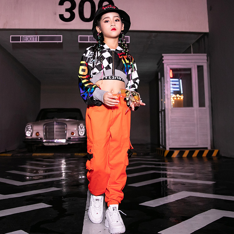 Hip Hop Costumes Fashion Hooded Top Girls Jazz Dance Clothes Kids Street Dancewear Modern Dancing  Outfit Stage Show Wear DN4098