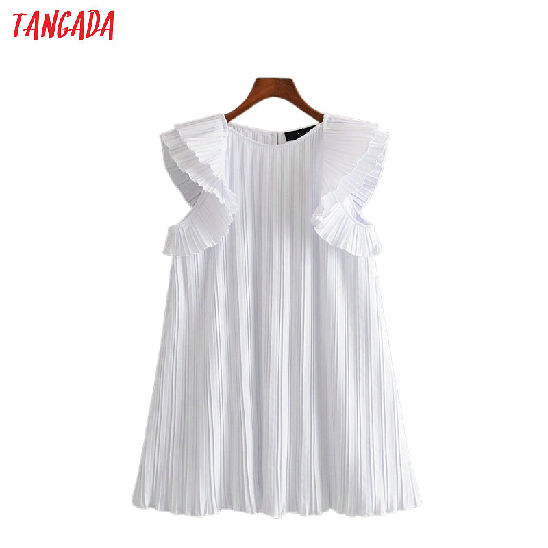 Tangada Fashion Women Solid Summer White Pleated Dress Ruffles Short Sleeve Loose Ladies Casual Dress Vestidos 3H491
