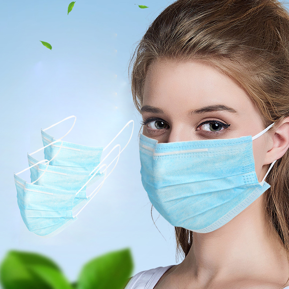 Wholesale 3 Layers Waterproof Adult Non Woven Disposable Mask Mouth Face 95% Filtration Mask Face Mask Dustproof Safety Masks