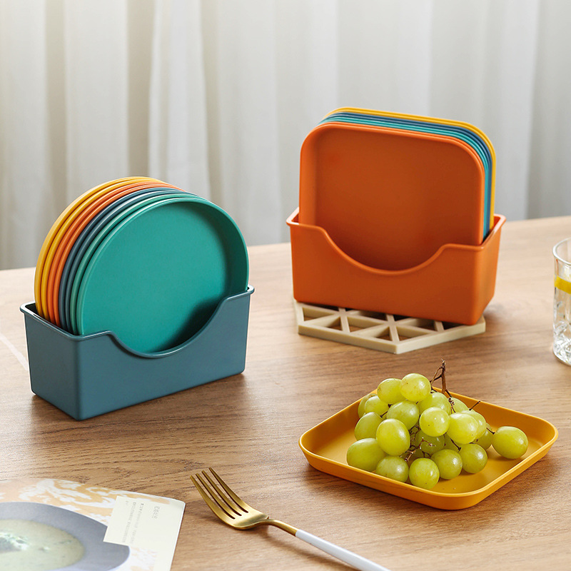 Home 5.7 Inch PP Plastic Small Plates Dinner Dish Vegetable Fruit Cake Snacks Plate Dining Table Garbage Tray Trash Container