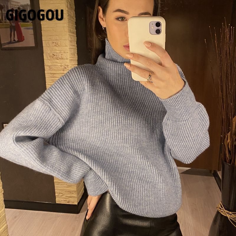 GIGOGOU Winter Wool Solid Women Knitted Foldover Turtleneck Sweater Oversized Throat Soft Female Jumper Cashmere Pullovers Tops