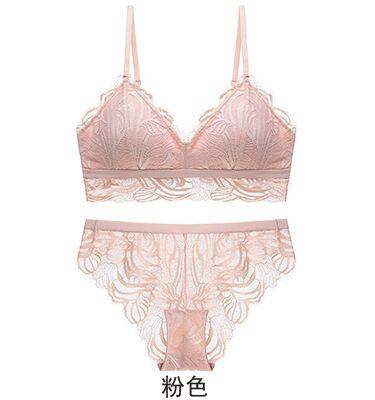 Image 3 - 2020 Wireless Bra and Panties Sets Vintage Lace Floral Seamless Underwear Set Sexy Deep V Plunge Lingerie SetBra & Brief Sets   -