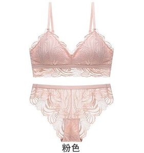 Image 3 - Honviey 2020 Wirefree Áo Ngực Và Quần Lót Bộ Vintage Ren Hoa Liền Mạch Bộ Đồ Lót Gợi Cảm Có Thể Điều Chỉnh V Sâu Lao Bộ Đồ Lót Ren