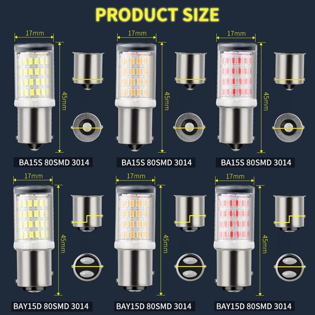 1Pc 1157 BAY15D P21/5W Led 1156 BA15S P21W LED Bulb R5W R10W S25 Car Turn Signal Lights Reverse Lamp DRL Auto White Red Yellow