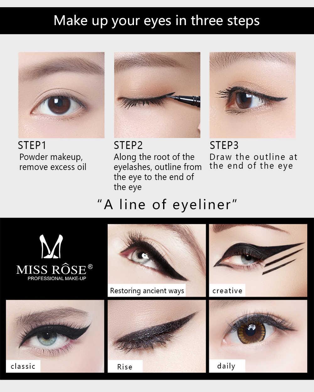 Crayon Eyeliner MISS ROSE noir liquide à séchage rapide en forme de feuille de plume belle et élégante pour les femmes maquillage des yeux TSLM2