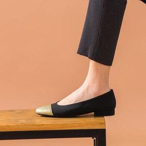 Image 4 - BeauToday 얕은 펌프 여성 정품 암소 가죽 천으로 라운드 발가락 슬립 온 봄 가을 레이디 로우 힐 신발 수제 18034