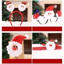 4 Pcs/set Christmas Adult Children Headband Set Santa Glasses Brooch Bracelet Holiday Party Supply