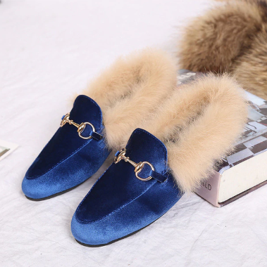 YEELOCA  Metal Chains Leather Flats Winter Loafers Women Shoes Winter Warm Fur Flat Creepers Soft Heel Moccasins  KZ0X36