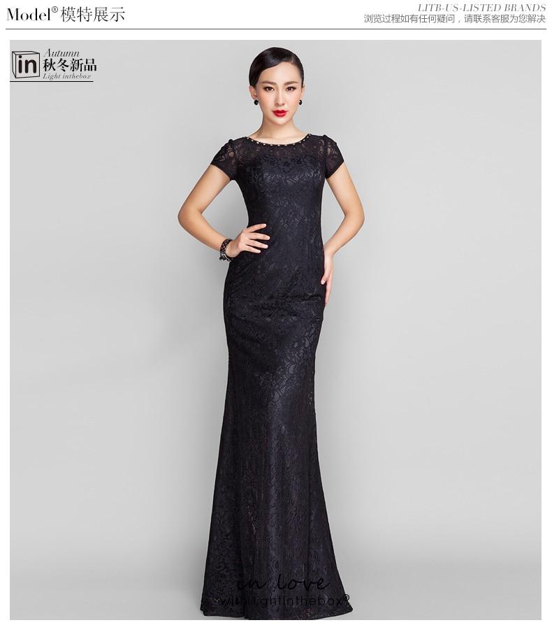 Robe De Soiree Vestido De Festa Longo 2018 Short Sleeve Black Long Lace Party Evening Gown Elegant Mother Of The Bride Dresses