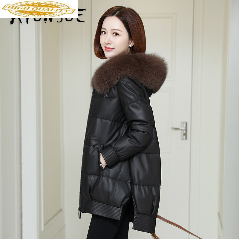 Real Leather Jacket Women Clothes 2019 Duck Down Sheepskin Coat Fox Fur Collar Winter Jacket Women Down Coat 19490 YY2157