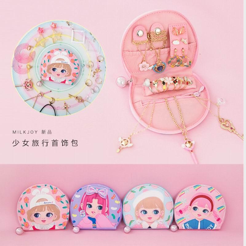 Bentoy Girls Cosmetic Case Candy Girl Peach Flower Jewellery Bag Women Cute Korea Japan Jewelry Pouches Milkjoy Necklace Bag Box