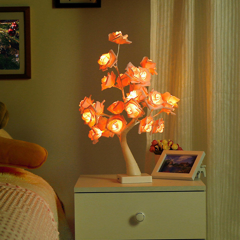 24 Heads Rose Tree Holiday Light Nightlights Decoration USB Rechargeable Lamp Romantic Flower Warm Light Propose Wedding Garland