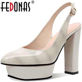 FEDONAS Elegant Pointed Toe Sandals For Woman Genuine Leather Platforms Hig Heels Metal Buckle Wedding Office Lady Shoes Woman