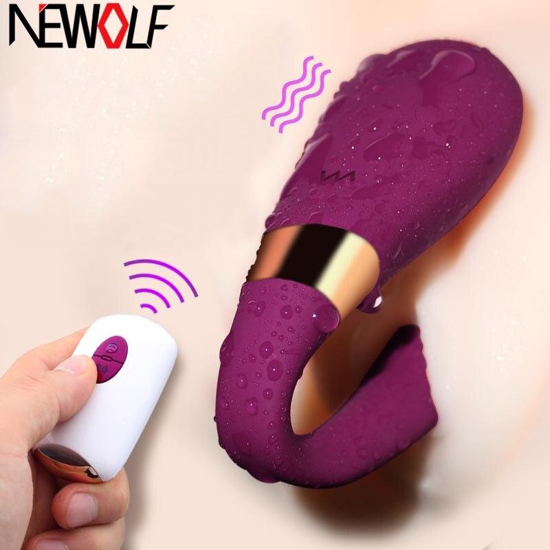 Cabeça dupla vaginal controle remoto sem fio vibrador u forma estimular clitóris vagina para o par masturbação massageador