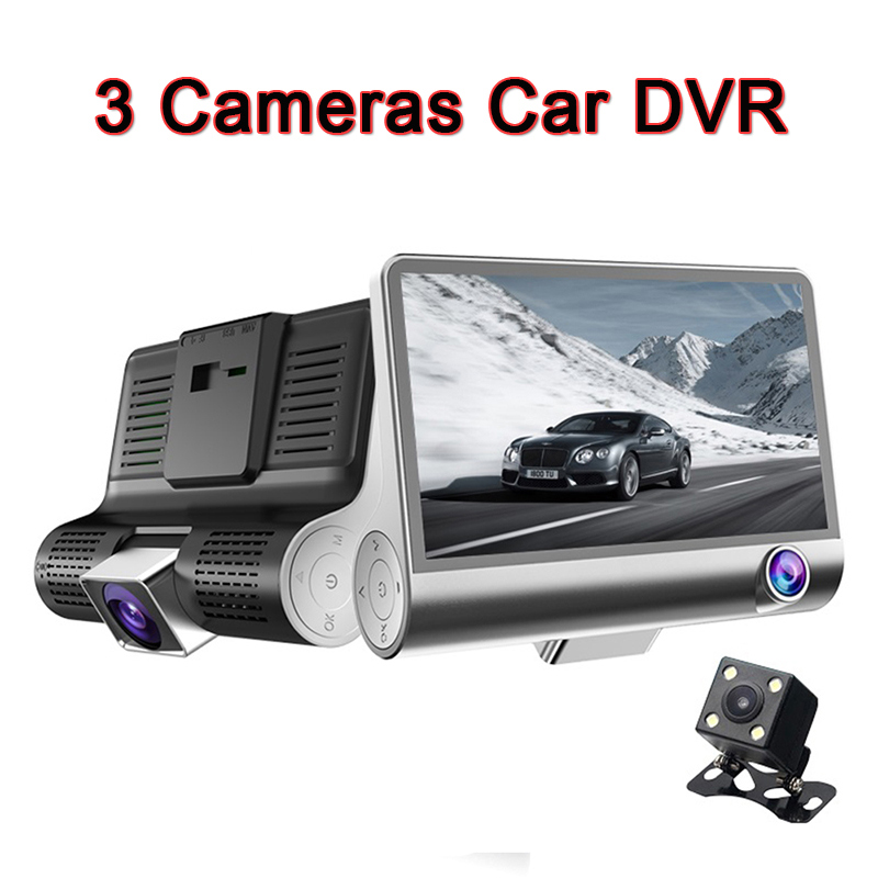 4.0 inch 3 cameras Rear view Mirror Car DVR Cam Dashcam Full HD 1080P Front Back Backup Packing Monitor Car detector