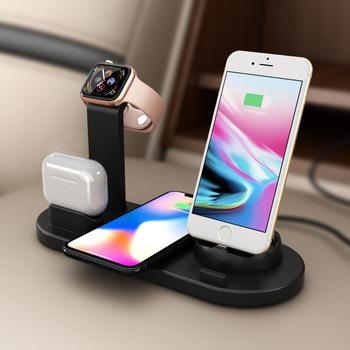 4-in-1Wireless Charging Induction Mobile Phone Charger Stand for iPhone 11 Pro X XS Max XR 8 Airpods Apple Watch Docking Station