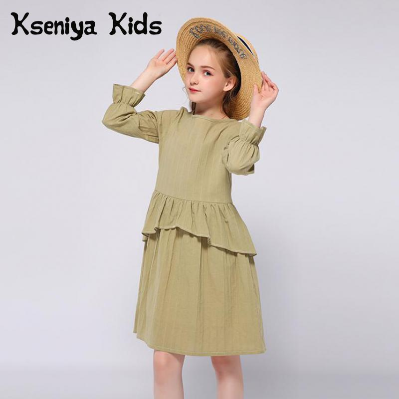 Kseniya Kids Spring Autumn Army Green Girls Dresses Long Sleeve Ruffle For 2 to 9 Years