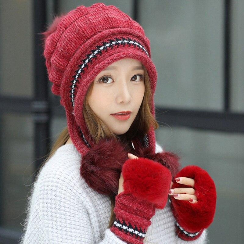 2020 New Arrivals Warm Women Cap Gloves Set Faux Fur Winter Hat Gloves Sets Fashion Windproof Ear Flap Beanie Bonnet