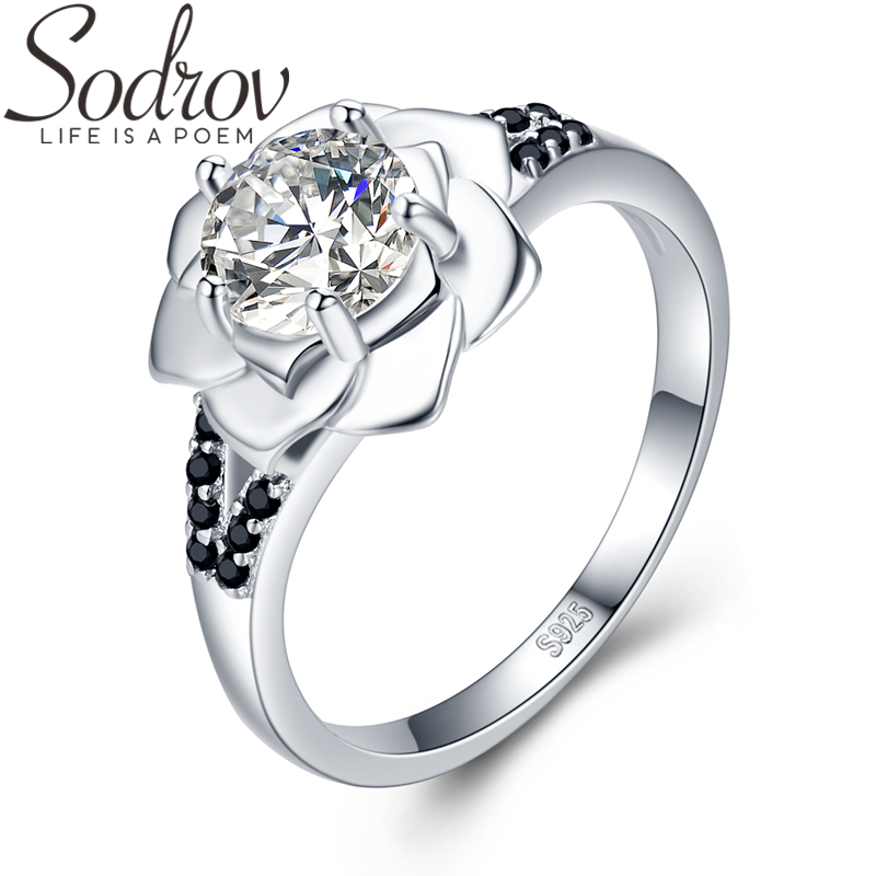 SODROV 925 Sterling Silver Ring Female Bague Flower Trendy Wedding Rings For Women Sterling Silver Jewelry G073