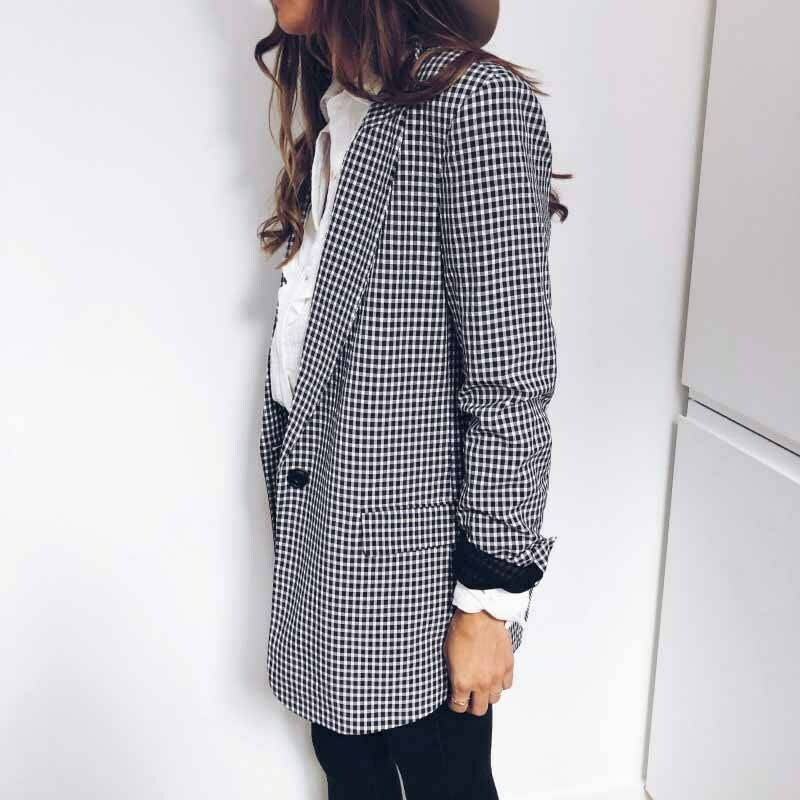 Autumn Women Casual Blazer Office Lady Jacket Lapel Tops Plaid Coat Slim Cardigan Outwear Overcoat Long Sleeve Suit Coat Tops