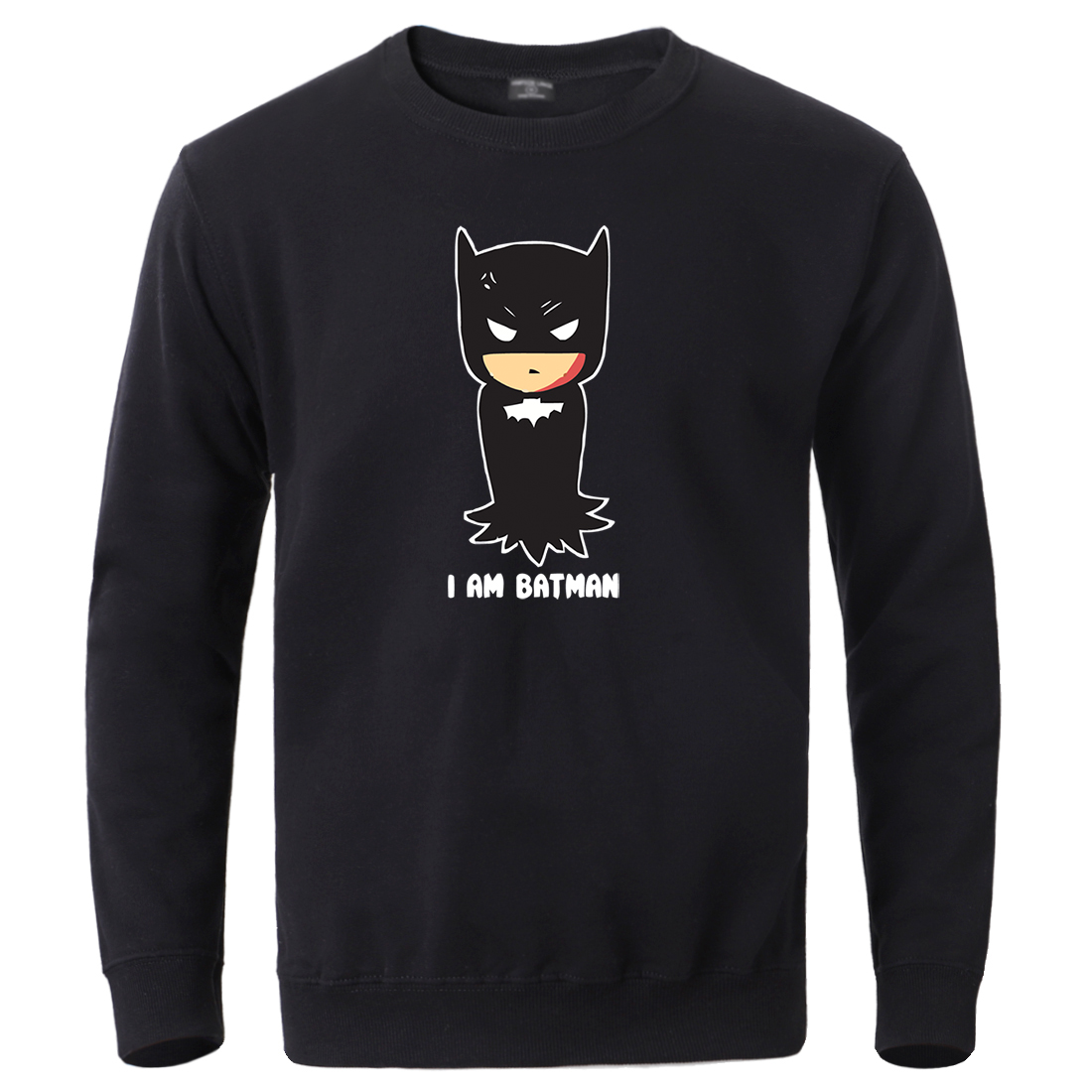 Superman I'm Batman Print Sweatshirts Male Winter Casual Tracksuit Fleece Warm Crewneck Pullover Hip Hop Loose Casual Sportswear