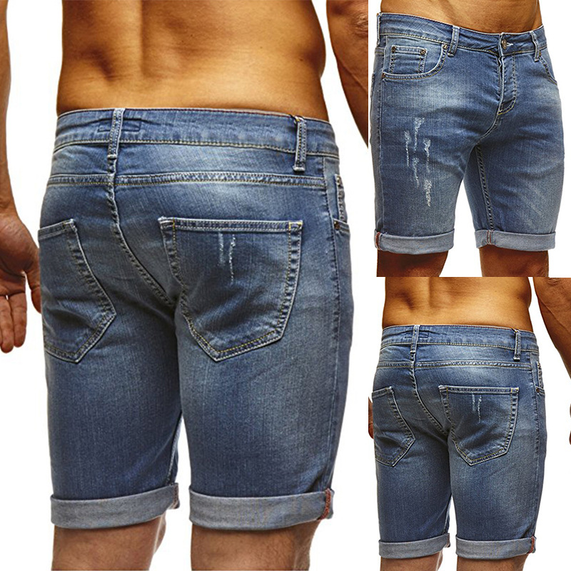 2019 Spring And Summer New Style Jeans Men's Hot Selling Solid Color Slim Fit Washing Faded Short Shorts Eg0248