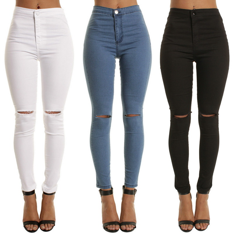 Skinny Jeans Ripped Denim Women Pencil-Pants Black Blue Vintage Girls High-Waist Casual