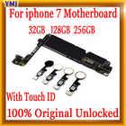 Материнская плата для iPhone 7, разблокированная, с распознаванием отпечатков пальцев и без распознавания, 32 ГБ 128 ГБ 256 ГБ, системные платы, 100% о...