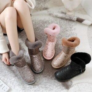 Image 2 - SWYIVY kar botları kadın 2019 yeni kış kürk ayakkabı pamuk yastıklı sıcak yarım çizmeler kadın yan fermuar kış rahat çizme Snowboots