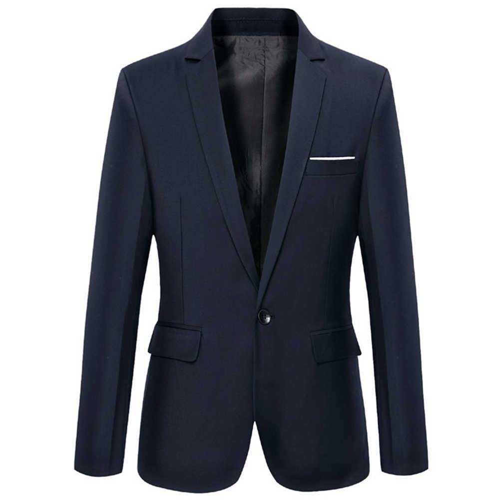 Masculino blazers de negócios primavera outono formal casaco masculino moda cor sólida blazer manga comprida lapela s-lim e se encaixa terno