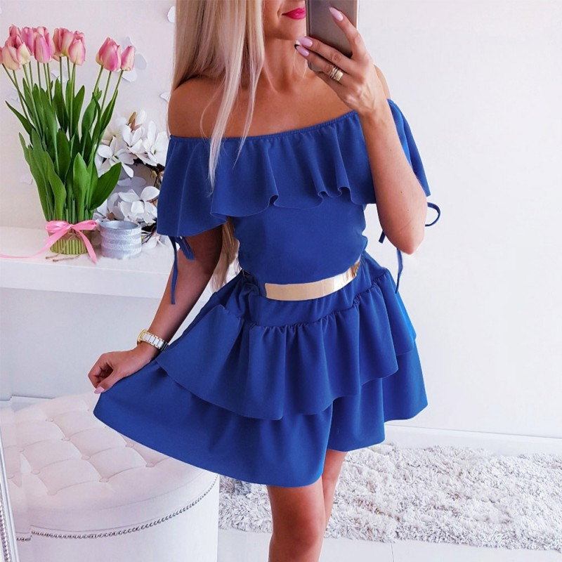Women <font><b>Dress</b></font> 2019 New <font><b>Sexy</b></font> solid Elegant waist <font><b>A</b></font> <font><b>line</b></font> <font><b>Dress</b></font> Fashion <font><b>Sexy</b></font> tie wrinkle waist <font><b>Slash</b></font> neck <font><b>dress</b></font> image