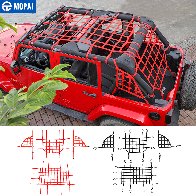 MOPAI Car Cover for Jeep Wrangler JK Car Trunk Roof Luggage Carrier Cargo Net Good Network for Jeep Wrangler JK 2007 2017|Car Covers| |  - title=