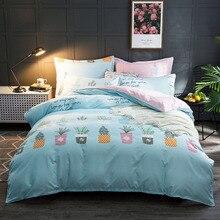 4pcs/set Classic bedding set duvet cover Pastoral bed sheet grey blue flower linen AB side 2019 5 size