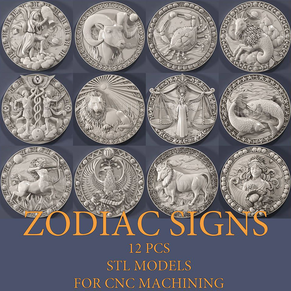 12 Files Zodiac Culture Sign Relief STL Format CNC Router Carving Aspire ArtCAM Type3 Design 3D Files