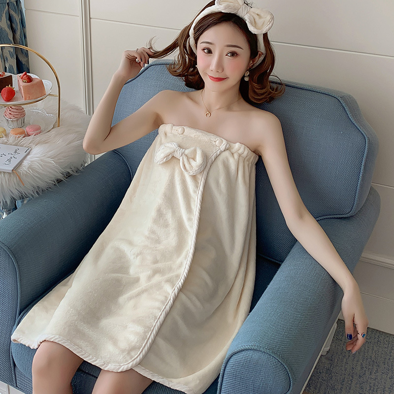 Coral Velvet Pajamas Women's Autumn & Winter Sexy Bath Headscarf Bathrobe Robe Flannel Students GIRL'S Dormitory Home Wear