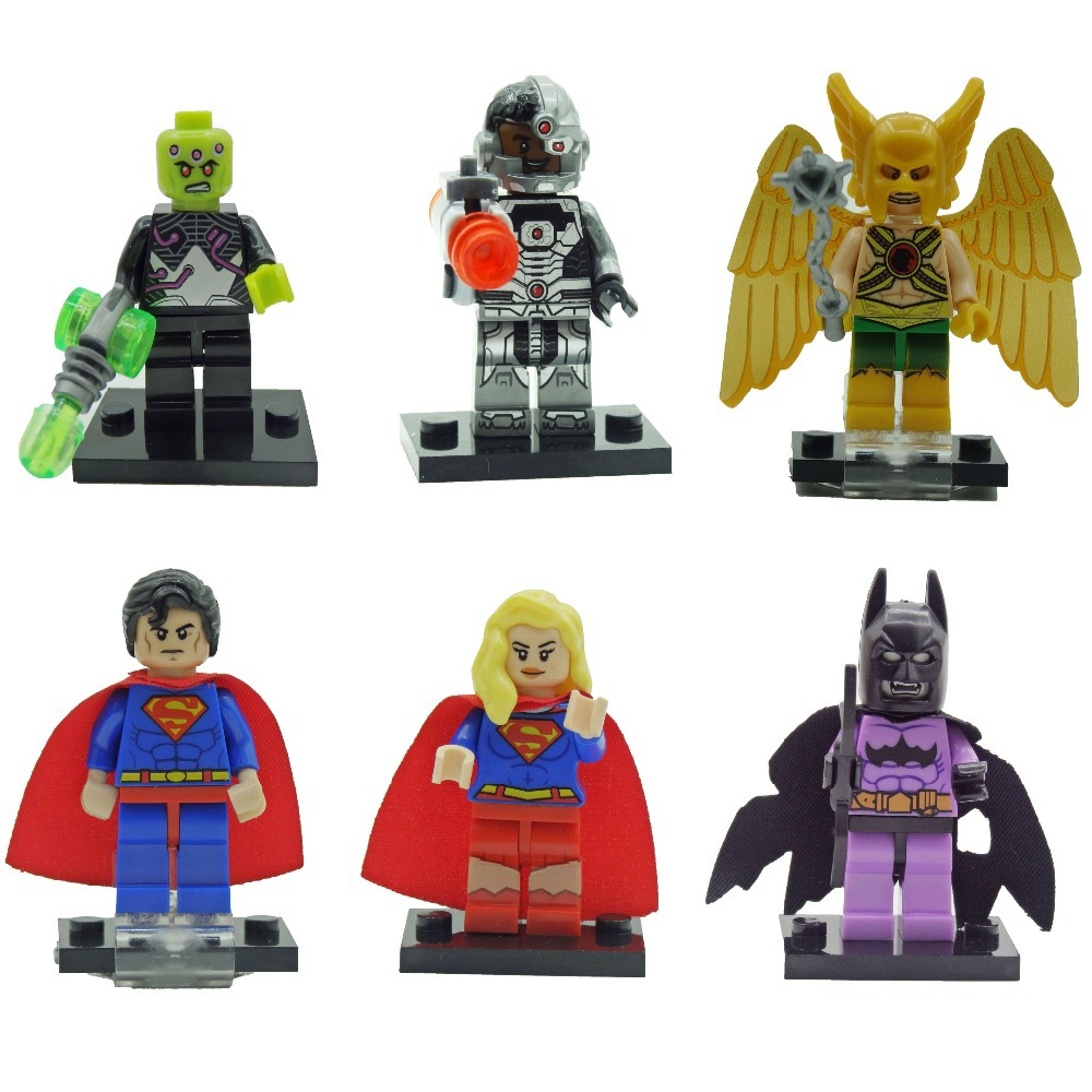 Decool 0199-0204 Building Blocks Super Heroes Justice League Hawkman Superman Supergirl Brainiac Cyborg Batman