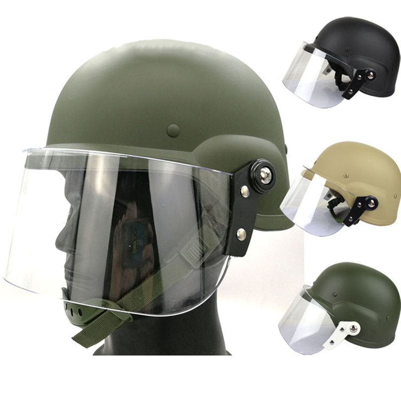 Anti-riot Helmet Military Fan Tactical Protection Self Defense Adult Transparent Protective Face Shield Wind-proof Safety Helmet
