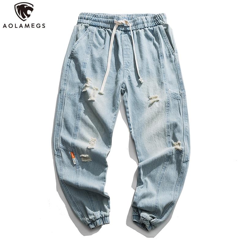 Aolamegs Elastic Waist Jeans Men Hole Ripped Jeans Men Denim Hip Hop Harem Pants Distressed Casual Trousers Fashion Streetwear