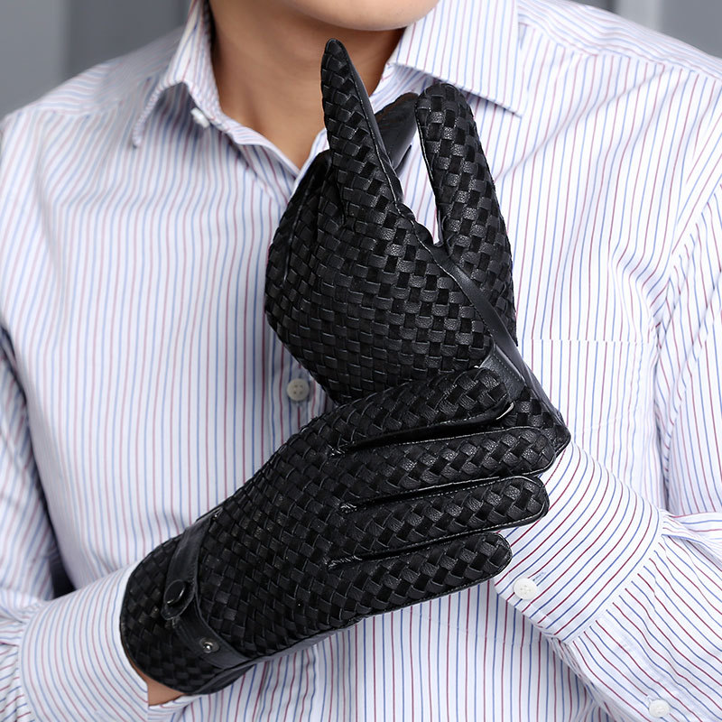 2020 New Genuine Leather Men's Gloves Autumn Winter Thermal Plush Lined Woven Sheepskin Gloves Male Black Coffee M0130-2