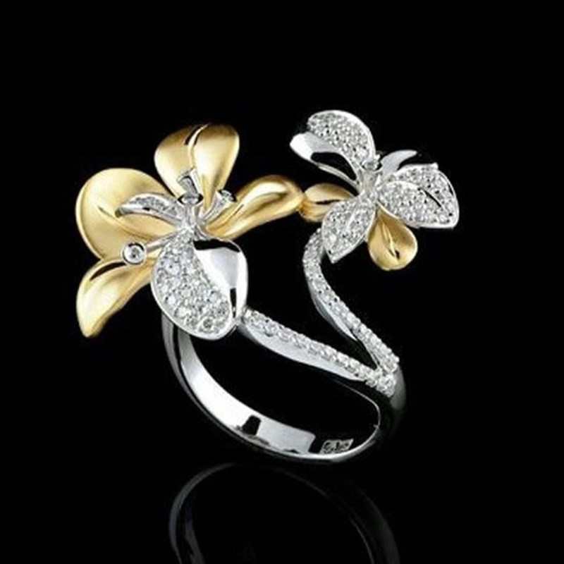 2019 Female Vintage Gold Color Flower Rings White Rhinestone Inlay Ring For Women Fashion Jewelry