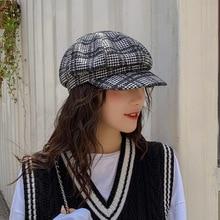 Vintage Newsboy Caps Women Autumn Winter Wool Beret Hat Fashion Octagonal Cap Hats Stylish Artist Painter Plaid Beret Hats