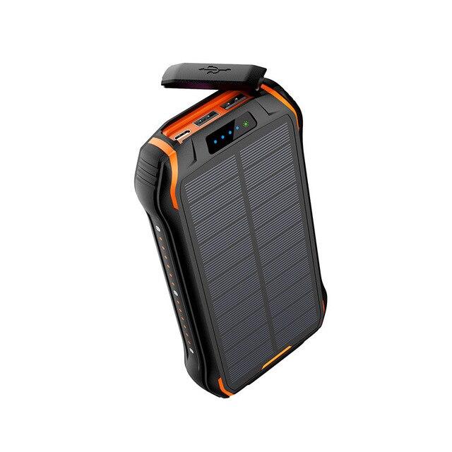 Powerbank na energię słoneczną QI 3.0 wodoodporna bateria Powerbank Poverbank przenośna ładowarka LED LCD do zasilania 26800mah Sola